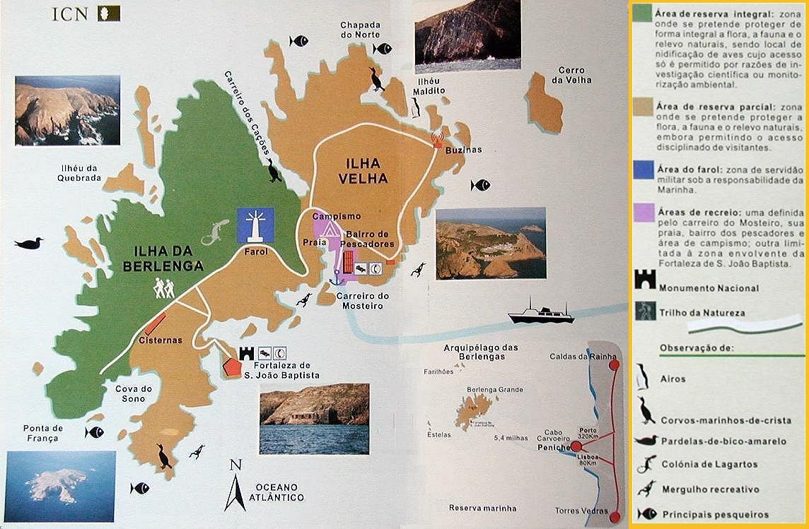 Mapa del archipiélago de Berlengas realizado por el Instituto para la Conservación de la Naturaleza y los Bosques.