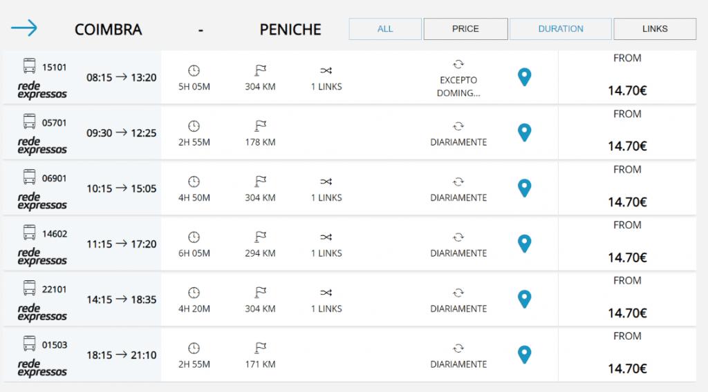 Horários e preços do Autocarro Coimbra até Peniche.