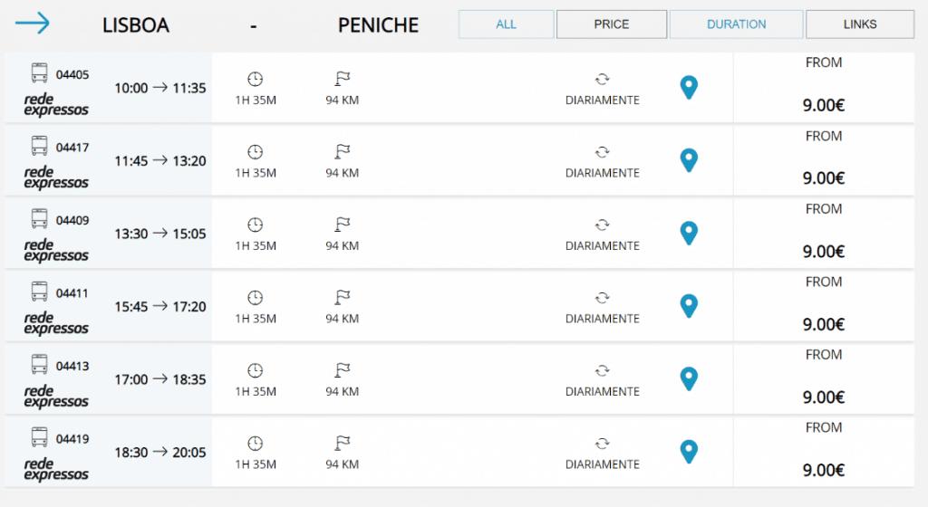 Horários e preços do Autocarro Lisboa até Peniche.