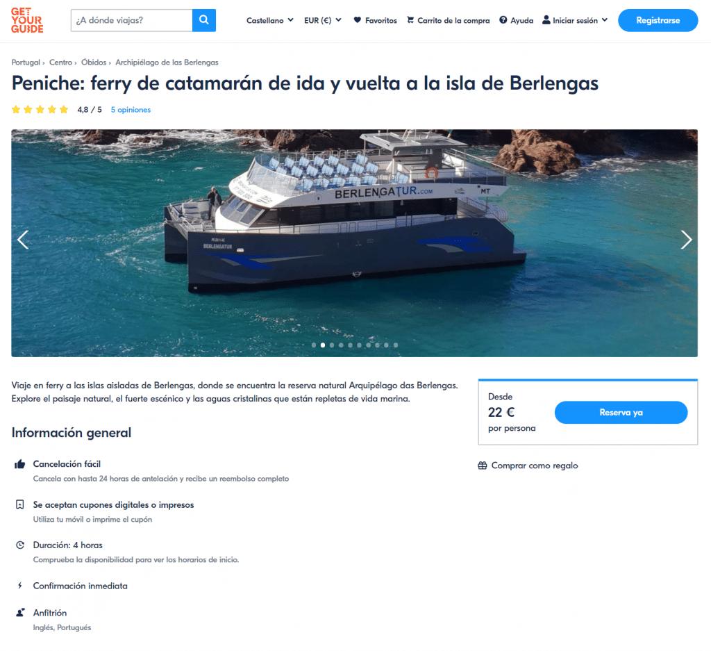 Comprar boleto barco Berlengas